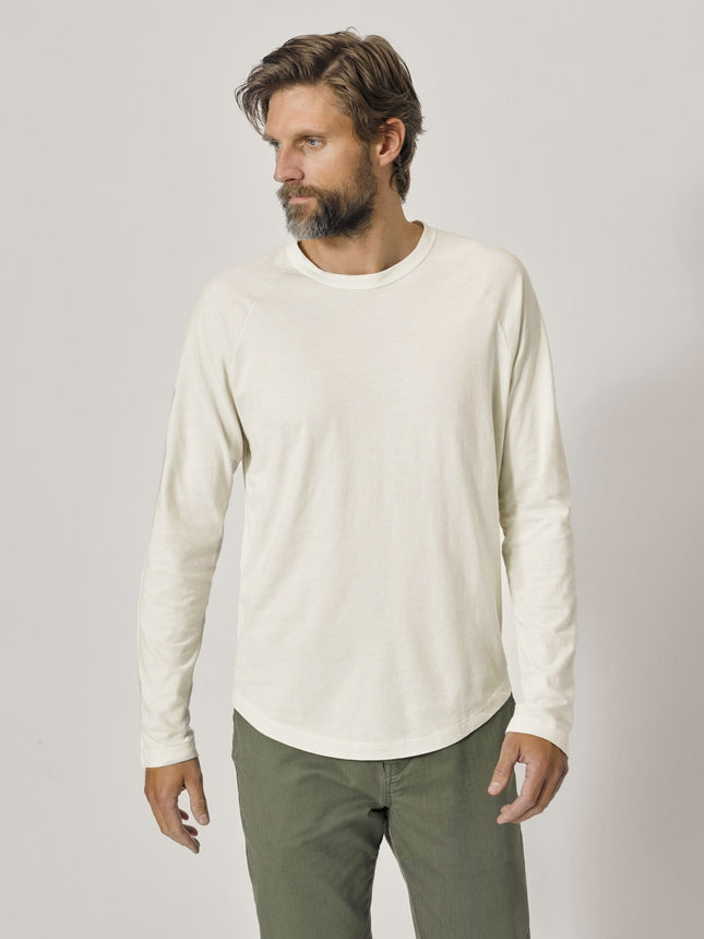 Natural Venice Wash Sueded Cotton Long Sleeve Raglan Tee