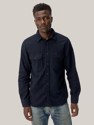 navy Brushed Flannel Two Pocket Shirt