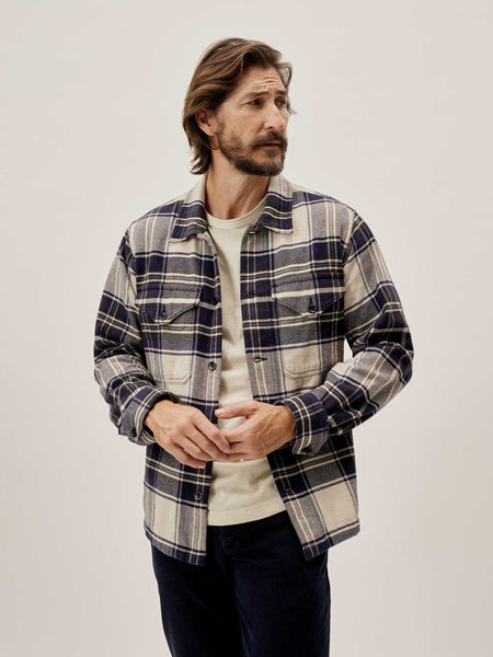 Buck Mason - Natural/Navy Plaid Blanket Flannel Field Jacket
