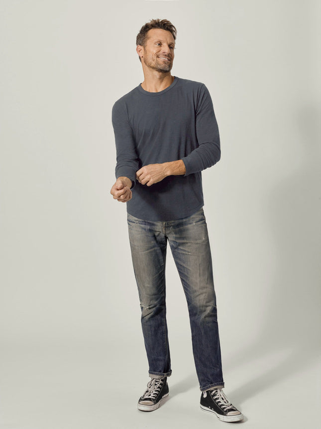 Buck Mason - Dark Navy Venice Wash Long Sleeve Slub Curved Hem Tee