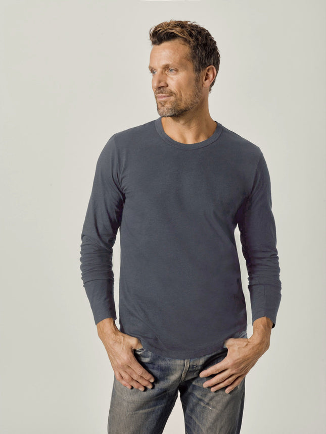 Dark Navy Venice Wash Long Sleeve Slub Curved Hem Tee