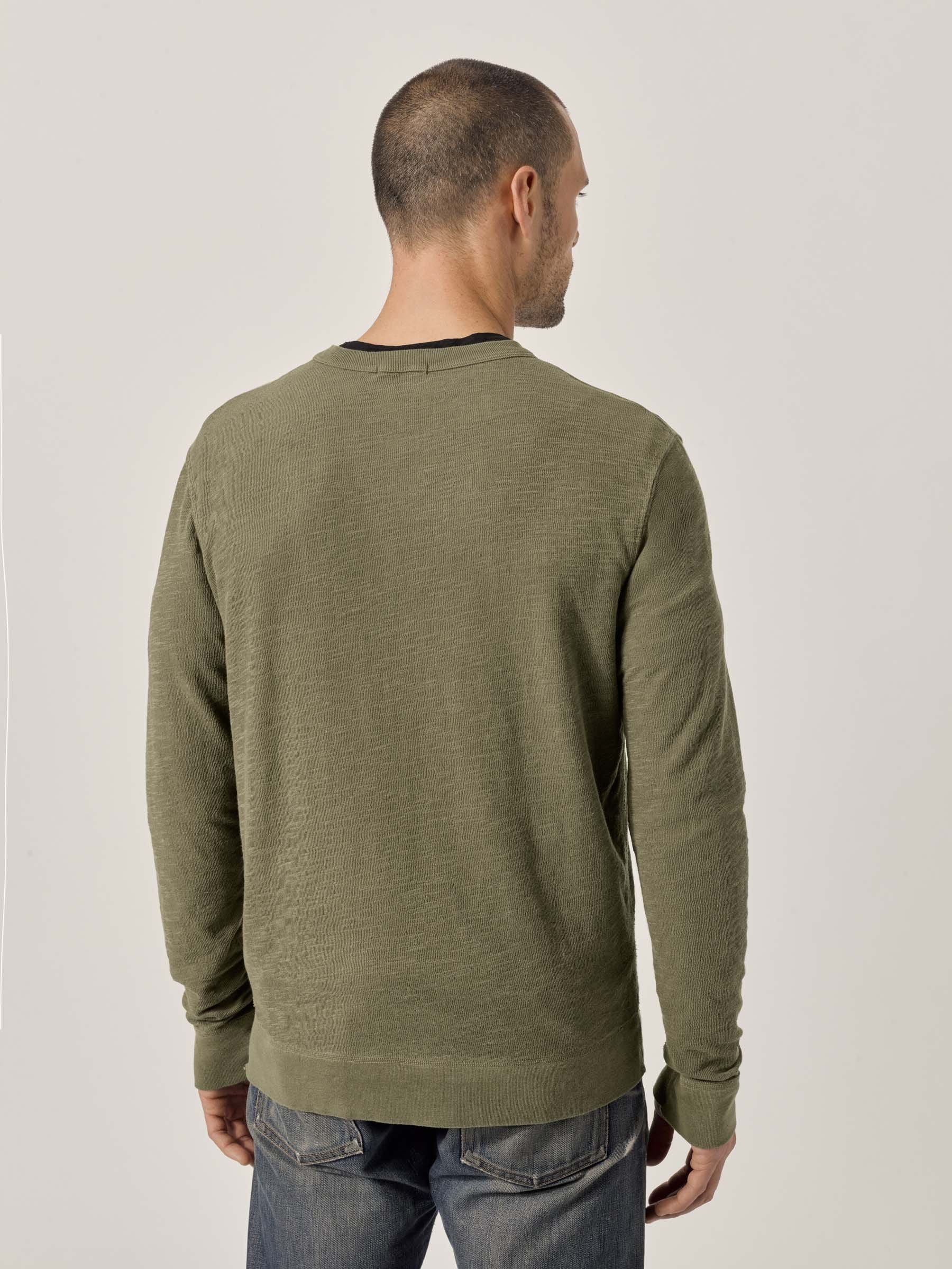 Buck Mason - Olive Lightweight Double Slub Sweatshirt