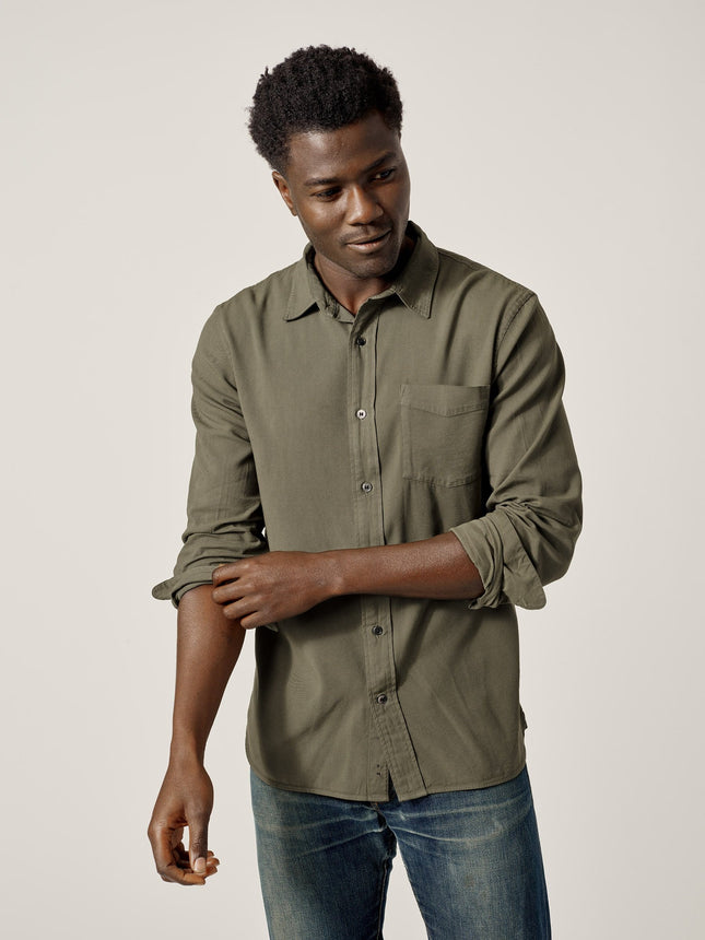 Sage Draped Twill One Pocket Shirt