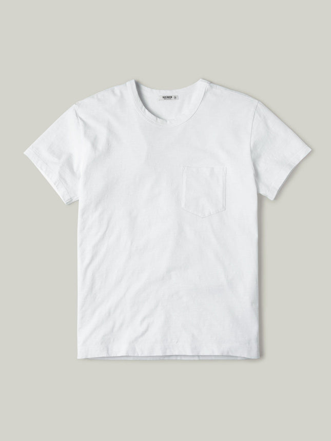 White Slub Vintage Pocket Tee