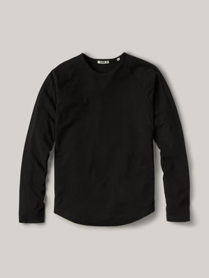 black Sueded Cotton Long Sleeve Raglan Tee