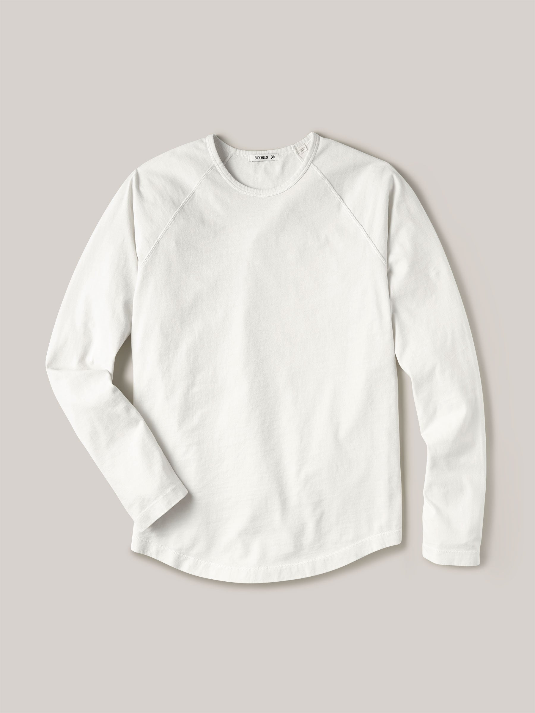 Buck Mason - White Sueded Cotton Long Sleeve Raglan Tee