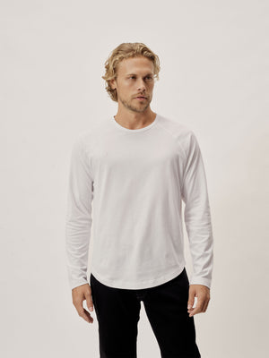 white Sueded Cotton Long Sleeve Raglan Tee
