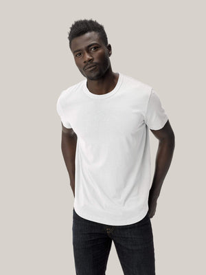 white Pima Tall Curved Hem Tee