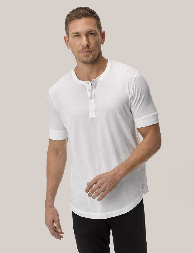 White Pima Short Sleeve Curved Hem Henley