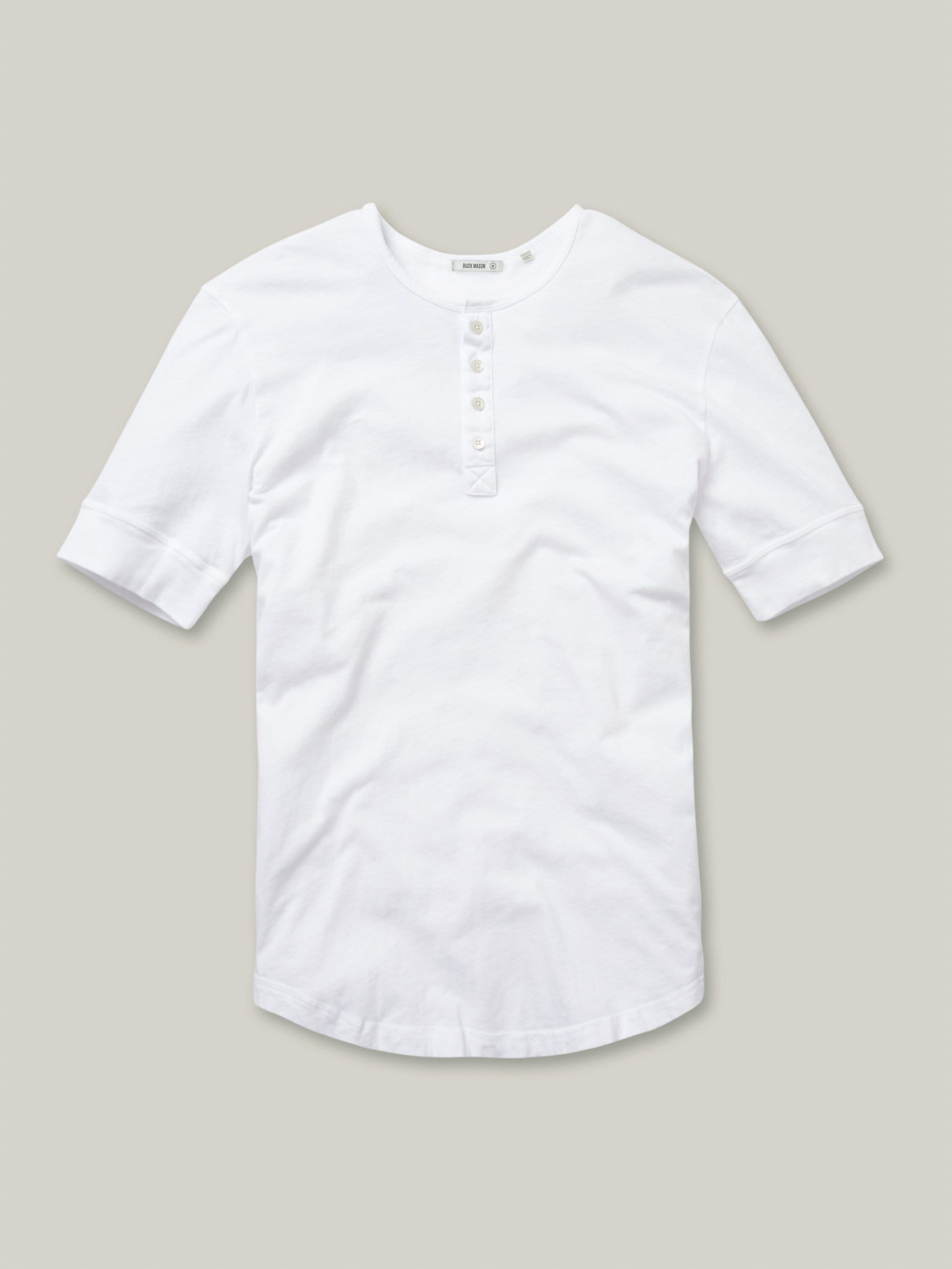 Buck Mason - White Pima Short Sleeve Curved Hem Henley