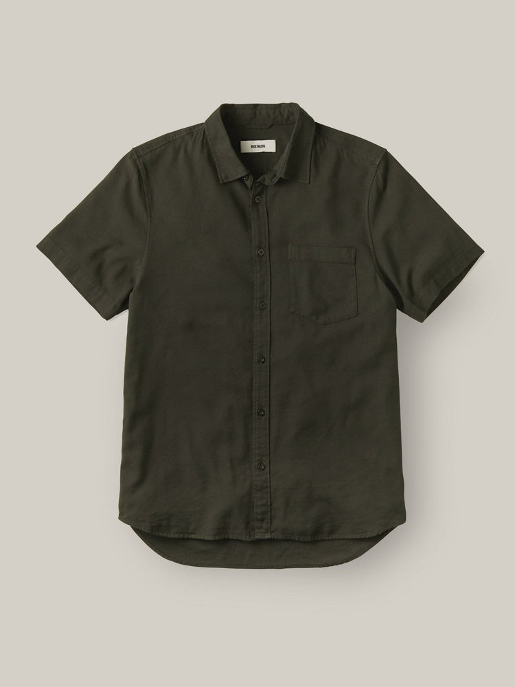 Olive Draped Twill SS One Pocket Shirt