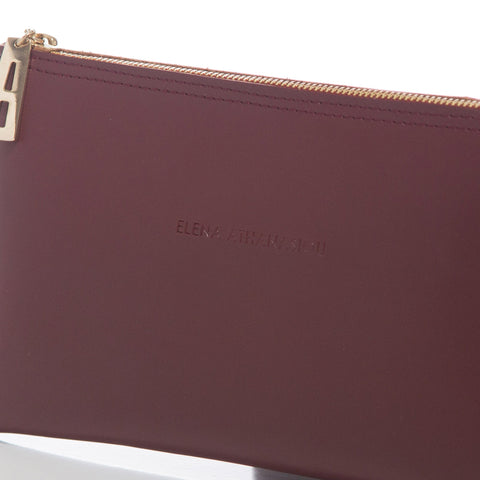 Γυναικεία τσάντα Elena Athanasiou - Recycled Leather Clutch bordeaux