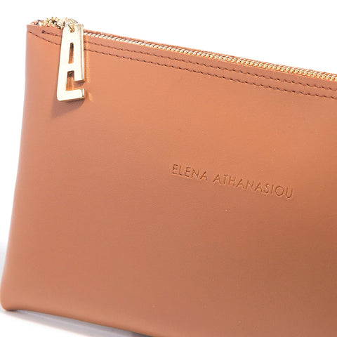 Γυναικεία τσάντα Elena Athanasiou - Recycled Leather Clutch cognac