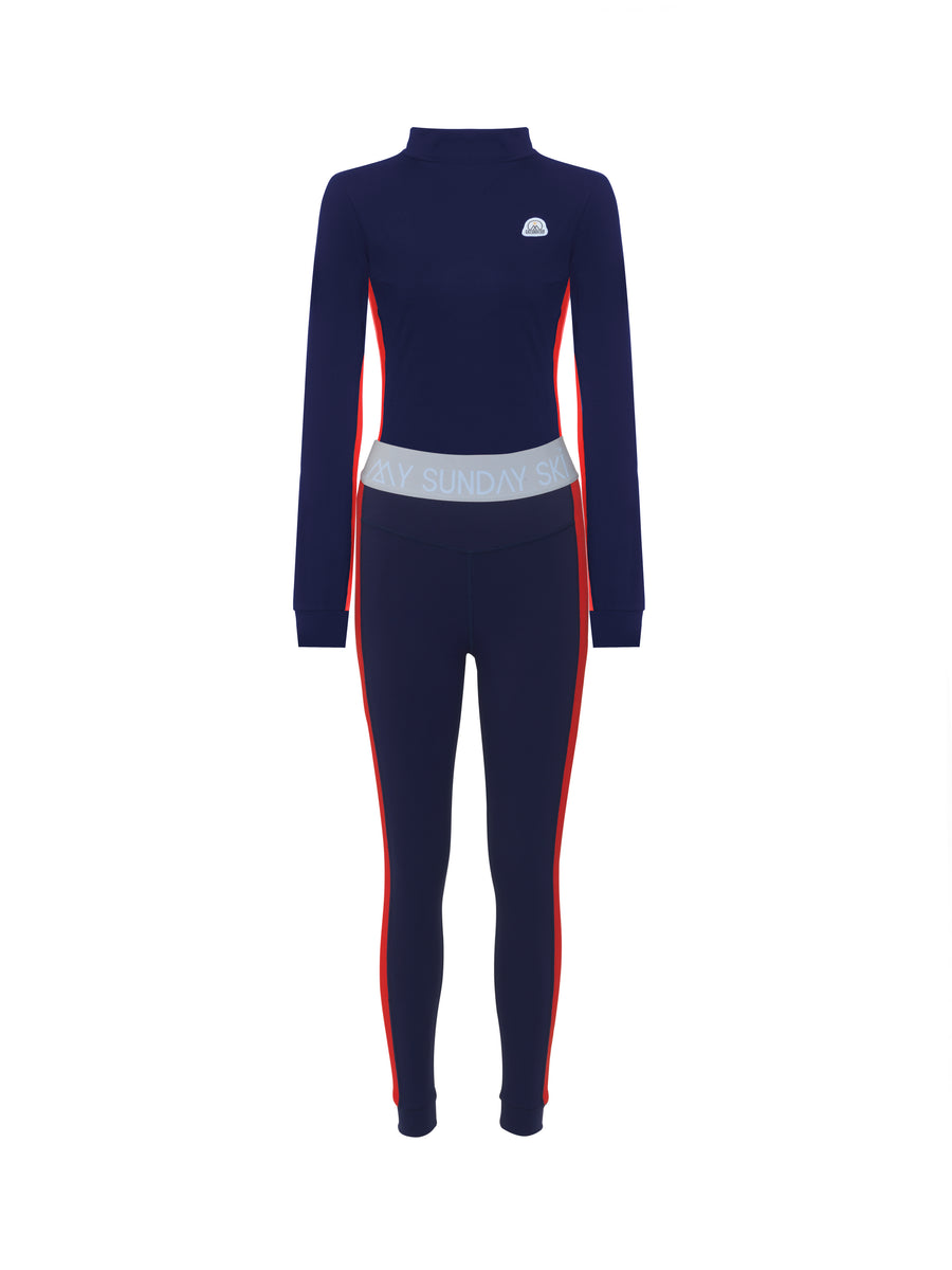 Racer Stripe Navy Base Layer Set