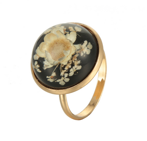 Black Floral Mood Ring
