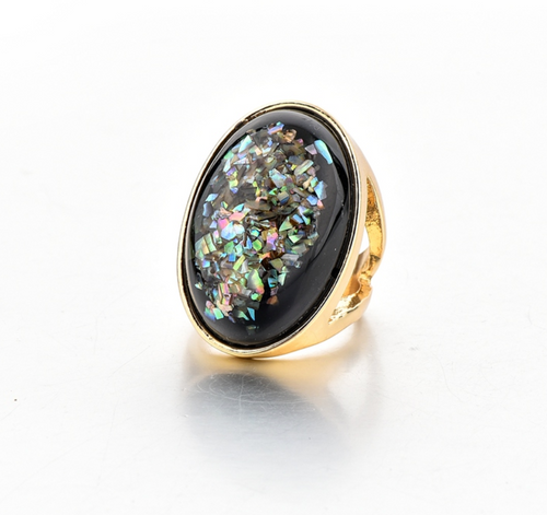 Punk Rock Black and Speckled Ring