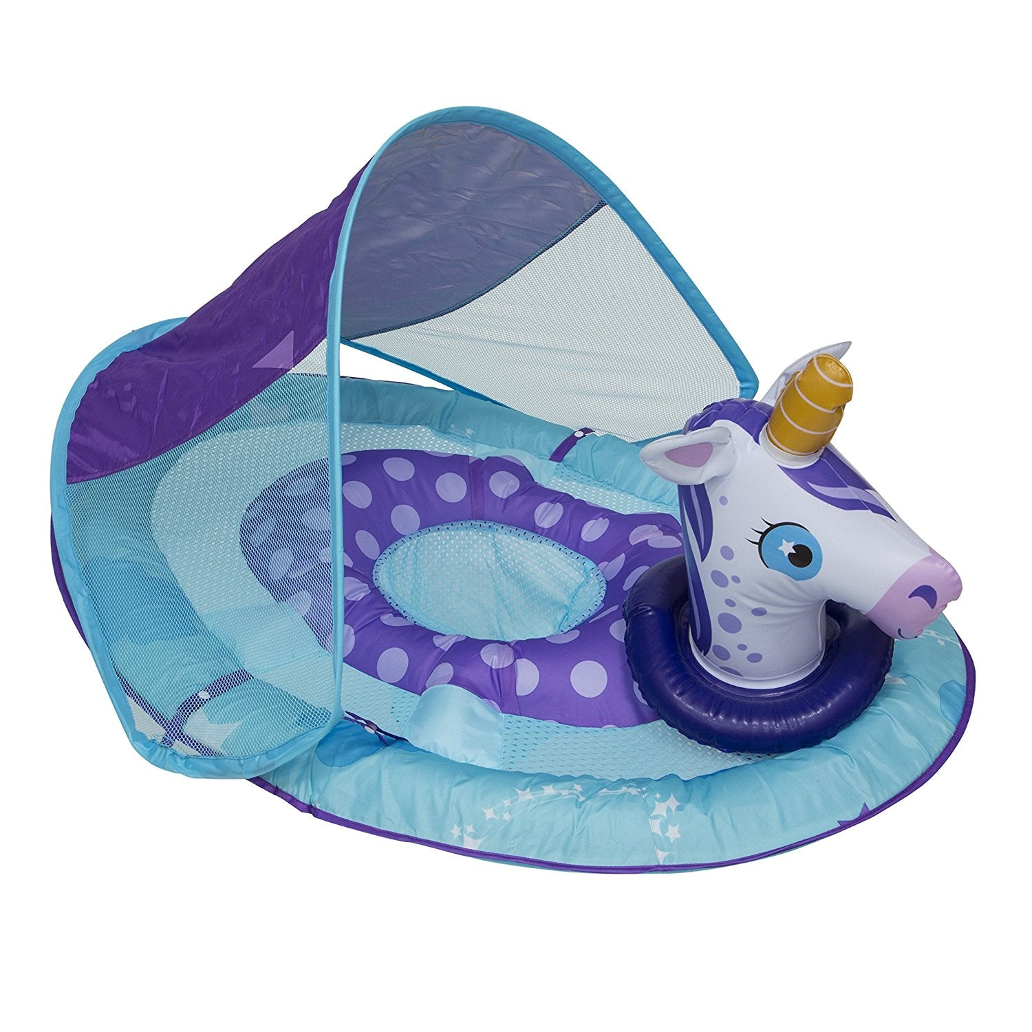 Baby Swim Floater with Sun Canopy & Animal Design
