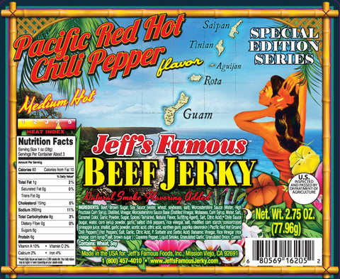 Beef Pacific Red Hot Chili Pepper - Jeff's Famous Jerky