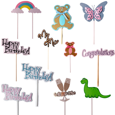 Handcrafted Card Cake Toppers