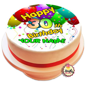 Personalised Happy Birthday Cake Topper (Circle/Square/Rectangle) - SimplyCakeCraft