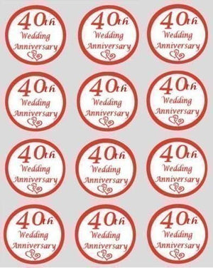 Ruby Wedding 40th Anniversary Edible Cupcake Toppers 40mm Cake Decorations - SimplyCakeCraft