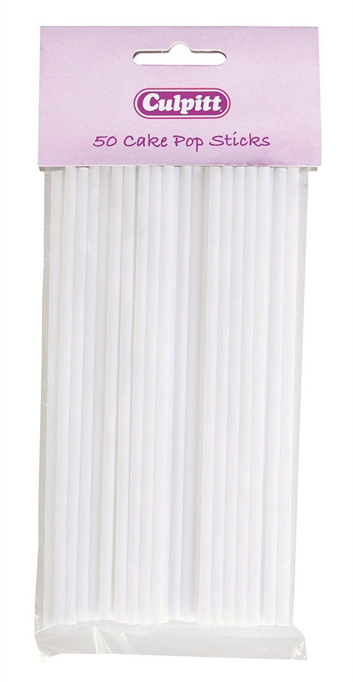 50 x White Plastic Cake Pop Straws