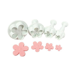 5 Petal Flower Plunger Cutter Set of 4 - SimplyCakeCraft