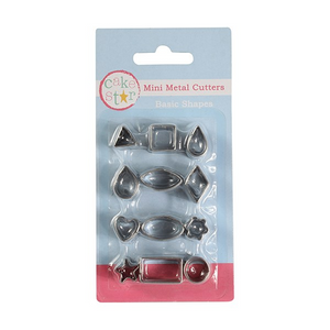 12 Piece Basic Shapes Mini Metal Cutters - SimplyCakeCraft