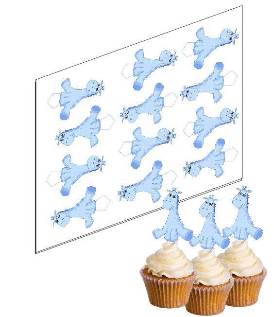 Blue Giraffe Cupcake Picks