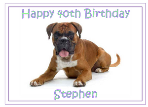 Personalised Boxer Dog Cake Topper - SimplyCakeCraft