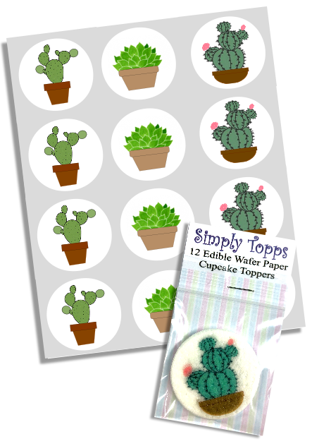 Cactus / Succulent Cupcake Toppers