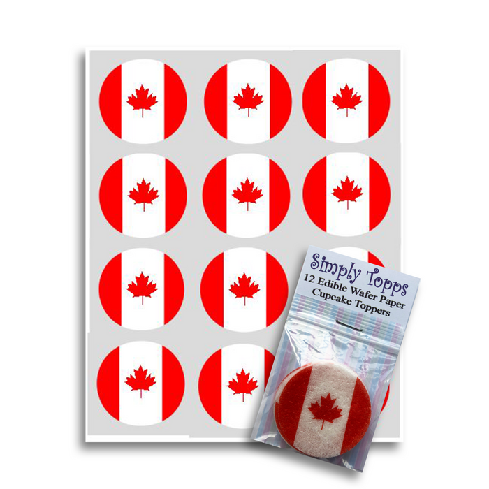 Canada / Canadian Flag Cupcake Toppers