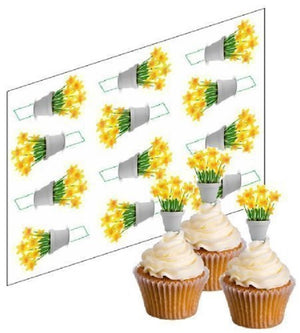 Daffodil Flower Cupcake Picks - SimplyCakeCraft