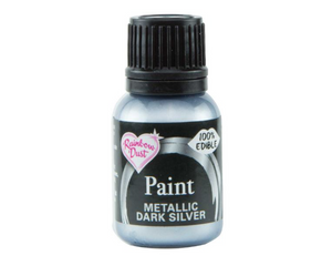 Metallic Dark Silver Rainbowdust Food Paint -  - SimplyCakeCraft