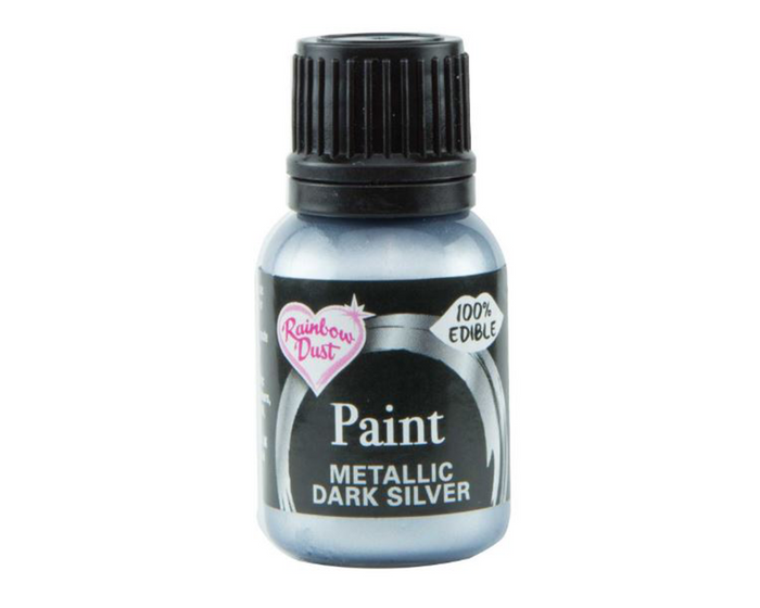 Metallic Dark Silver Rainbowdust Food Paint
