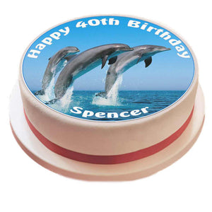 "Personalised Dolphin Cake Topper - 7.5"" Circle - SimplyCakeCraft"