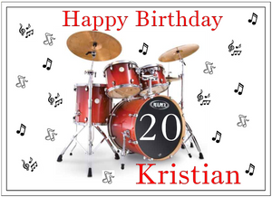 Personalised Drum Kit Cake Topper Decoration - SimplyCakeCraft