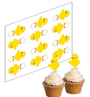 Easter Chick Cupcake Picks - SimplyCakeCraft