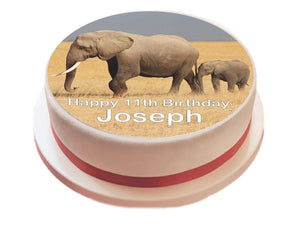 "Personalised Elephant Cake Topper - 7.5"" Circle - SimplyCakeCraft"