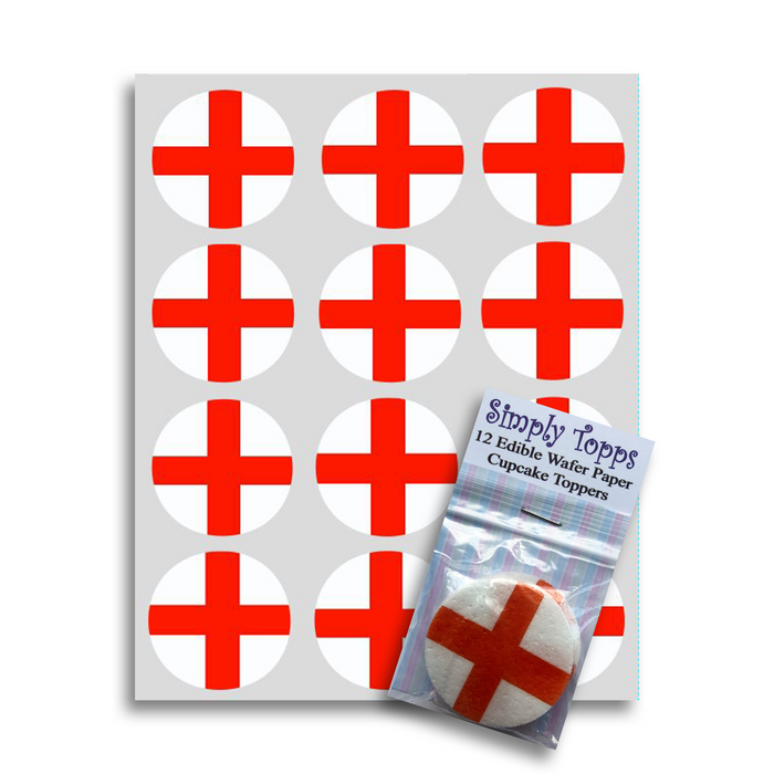 England / St Georges Cross Flag Cupcake Toppers