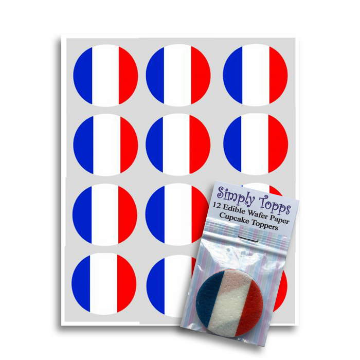 France / French Flag Cupcake Toppers