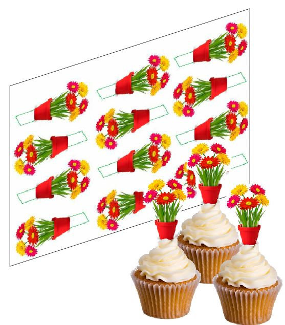 Gerbera Flower Cupcake Picks