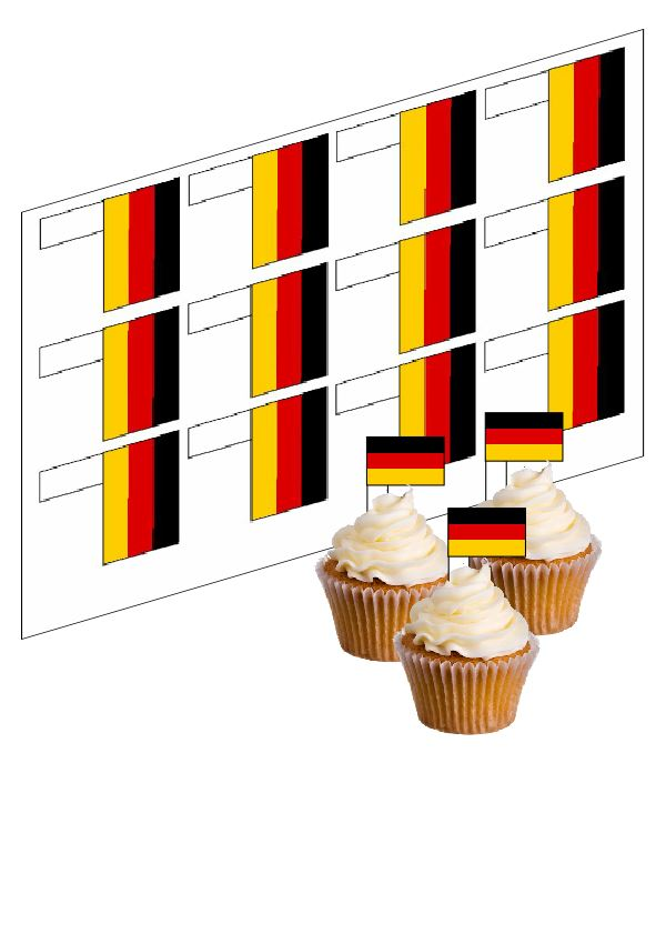 Germany / German Flag Cupcake Picks