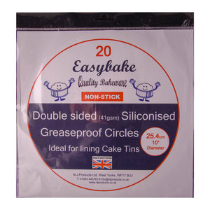 Double Sided Siliconised Greaseproof Circles 25.4cm - SimplyCakeCraft
