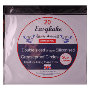 Double Sided Siliconised Greaseproof Circles 20cm - SimplyCakeCraft