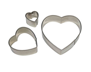 PME Heart Stainless Steel Cutters Set of 3 - SimplyCakeCraft