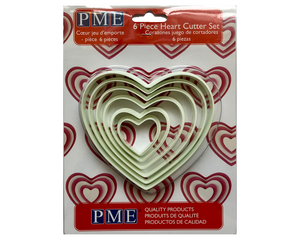 PME Heart Plastic Cutters Set of 6 - SimplyCakeCraft