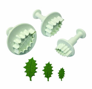 Cake Star Single Holly Leaf Plunger Cutter Set of 3 - SimplyCakeCraft