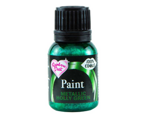Metallic Holly Green Rainbowdust Food Paint - SimplyCakeCraft