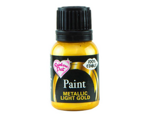 Metallic Light Gold Rainbowdust Food Paint - SimplyCakeCraft